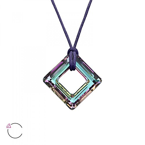 14mm Crystal Vitrail Light (Sterling Silver Vitrail Light Square Necklace with Crystals)