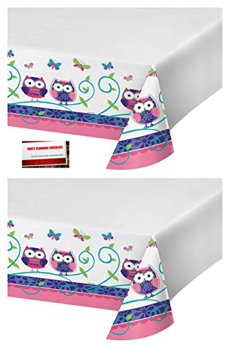 (2 Pack) Owl Pal Plastic Table Cover 54 X 108 Inches (Plus Party Planning Checklist by Mikes Super Store)