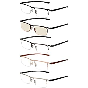 LianSan 5 Pack Metal Half-eye Frame Style Readers Quality Reading Glasses for Men Women includes Office Computer Glasses L5019(+2.00)