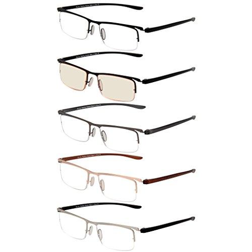 LianSan 5 Pack Metal Half-eye Frame Style Readers Quality Reading Glasses for Men Women includes Office Computer Glasses (Half Eye Reader)