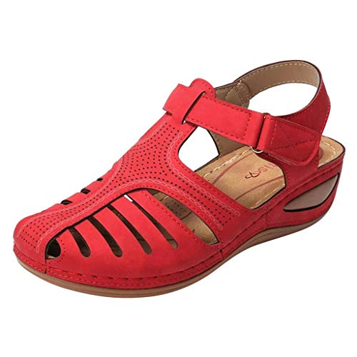 Women's Retro Wedges Comfortable Ankle Hollow Round Toe Sandals Soft Sole Shoes Red