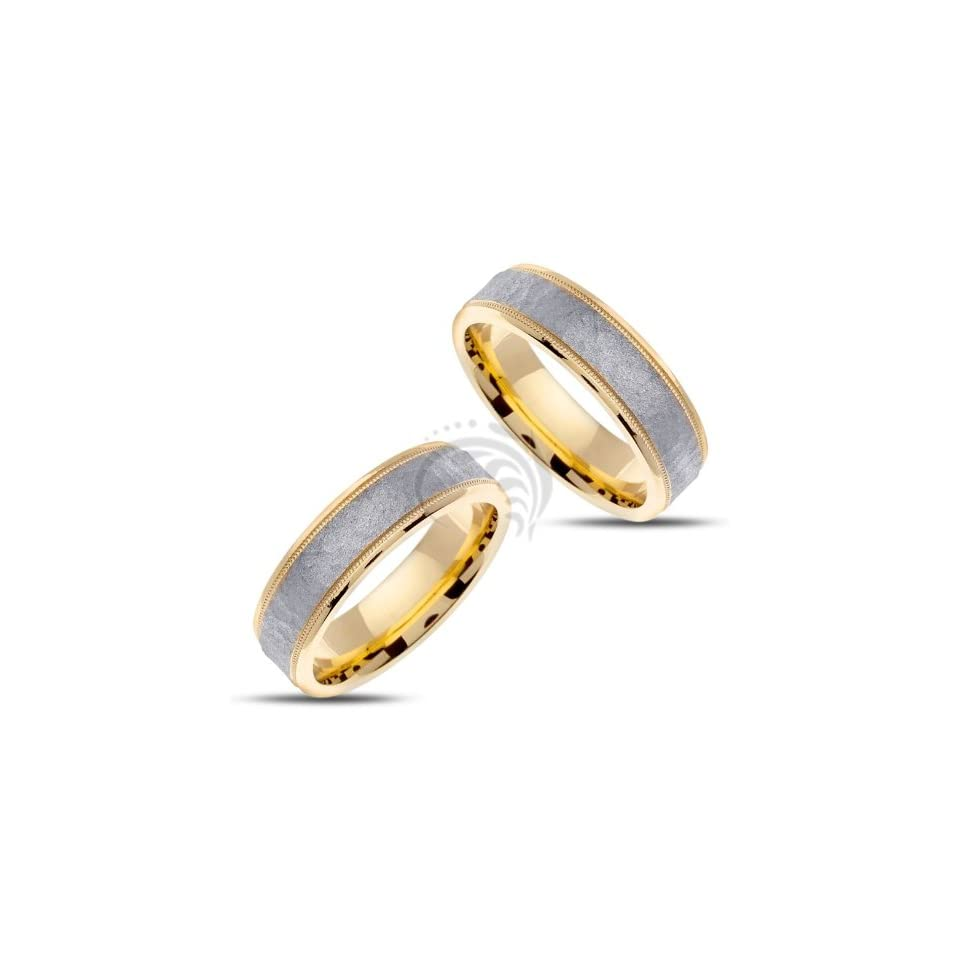 14k White and Yellow Gold His and Hers Matching Wedding Rings 6 Mm