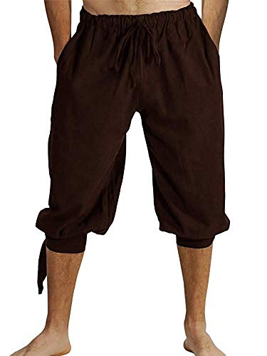 Mens Banded Shorts Lace Up Medieval Renaissance Viking Pirate Mercenary Gothic Costume Pants Cosplay Trousers Brown -