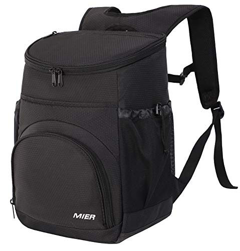 MIER Leakproof Backpack Cooler Insulated Lunch Backpack with iPad/Tablet Pocket for Men and Women to Work, Picnic, Hiking, Camping, Beach, Day Trips, 20Can, Black