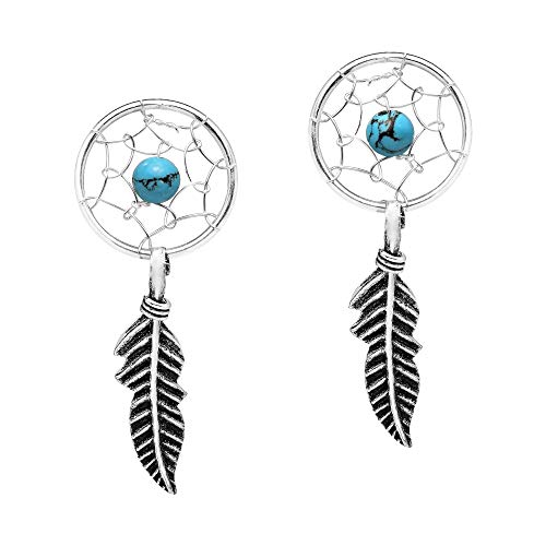 (Simulated Turquoise Dreamcatcher Feather .925 Sterling Silver Post Drop Dangle Earrings)