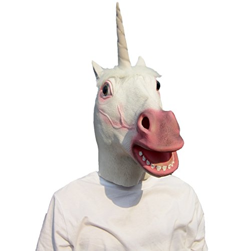 Lubber Unicorn Costume Latex Animal Halloween Head Mask white (Cute Halloween Masks)