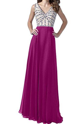 Damen Fuchsie Ivydressing Perlen Lang V Ausschnitt Hochwertig Partykleid A Linie Festkleid Promkleid Abendkleid dxr71xw