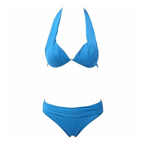 DELEY Mujeres Retro Cuello Halter Bikini Triángulo Brasileña Traje De Baño Ropa De Playa Verano Vacaciones Bañadores Swimwear Azul