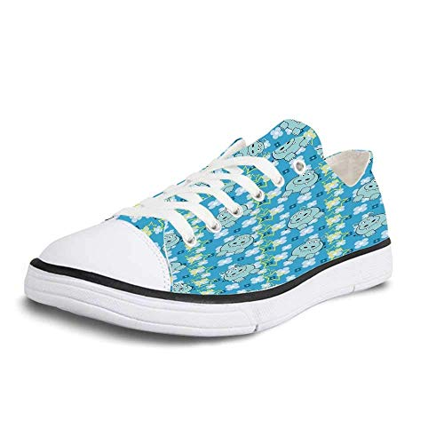 Canvas Sneaker Low Top Shoes,Yellow and Blue Funny Cartoon Hippopotamus with Stars and Cute Daisy Flowers Decorative Man 10 (Sofa Hippopotamus)