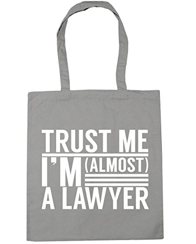HippoWarehouse Trust me I'm almost a Lawyer Tote Shopping Gym Beach Bag 42cm x38cm, 10 litres Light Grey