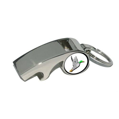 Duck Hunting - Hunter - Plated Metal Whistle Bottle Opener Keychain Key Ring