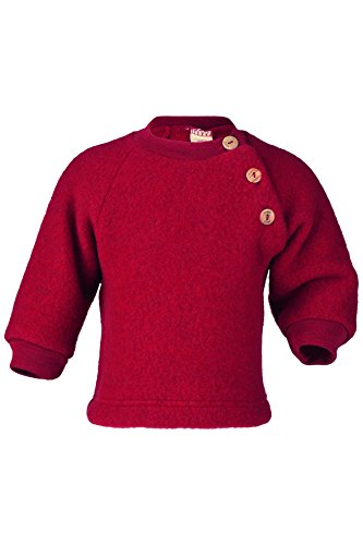 (Engel Sweater 100% Merino Wool Baby Newborn Organic Fleece Raglan Shirt Buttons 57 5410 (12-24 Months, Red Melange))