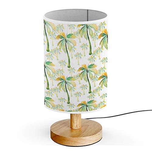 ARTSYLAMP - Wood Base Decoration Desk Table Bedside Light Lamp [ Watercolor Palm Trees ]