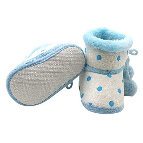 ESHOO Toddler Bebé Botines de Nieve en invierno suave Sole Casual Cálido Para Cuna zapatos flecos marrón Brown 1 Talla:6-12 meses Blue 1