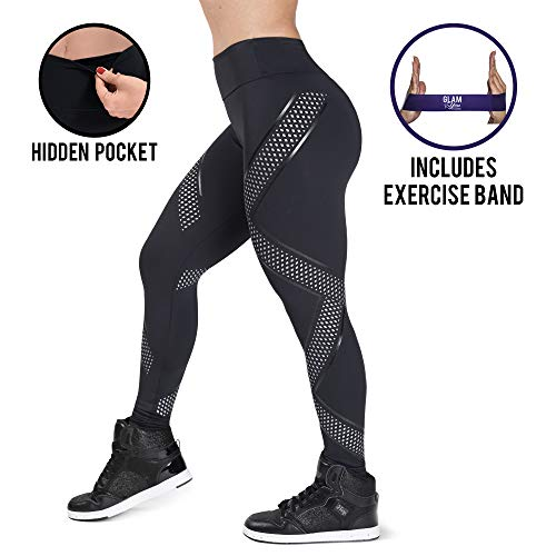 Glam You Bands Non See Through, High Waist Shapewear Leggings. Active Compression Pants for Workout, Yoga, Running & X-Fit