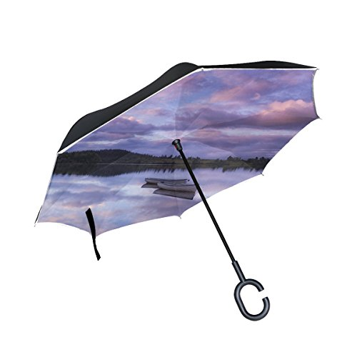 RH Studio Inverted Umbrella Lake Boats Skyline Large Double Layer Outdoor Rain Sun Car Reversible Umbrella by RH Studio