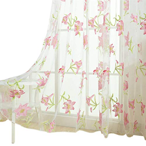 BROSHAN Flower Voile Curtain Rod Pocket, Beautiful Flower with Leaves Sheer Curtain Panels Window Treatment Draperies Pink,1 Panel, 78