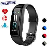 Fitness Tracker,Smart Watch Activity Tracker Health Bracelet Waterproof Wristband with Heart Rate Blood Pressure Pedometer Sleep Monitor Calorie Step Counter for Men Women Kids  (Black)