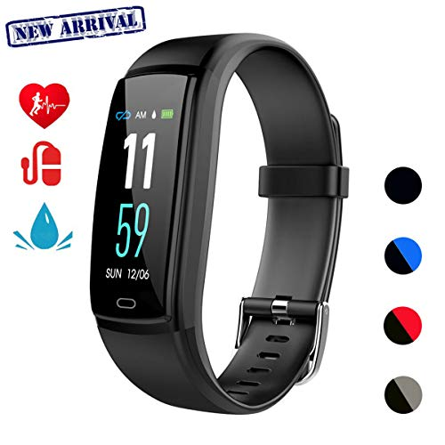 Fitness Tracker Smart Watch Activity Tracker Health Bracelet Waterproof Wristband With Heart Rate Blood Pressure Pedometer Sleep Monitor Calorie Step Counter For Men Women Kids Black