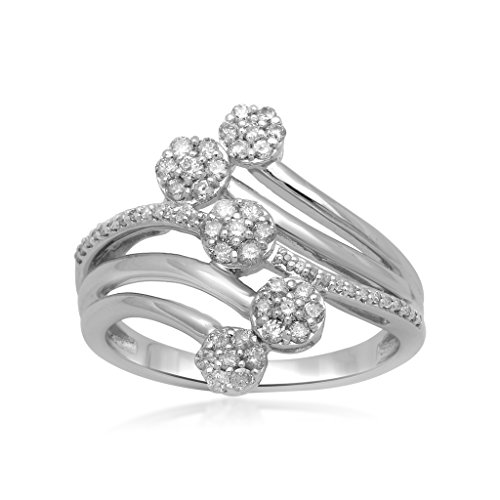 Jewelili Sterling Silver 1/2cttw Round Diamond Bypass Five Cluster Ring, Size 7