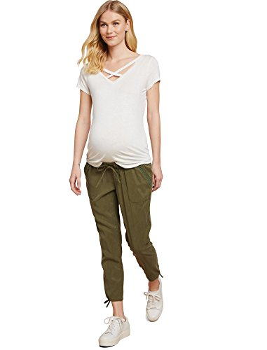 Twill Maternity Crop Pant (Jessica Simpson Under Belly Twill Slim Leg Maternity Crop Pants)