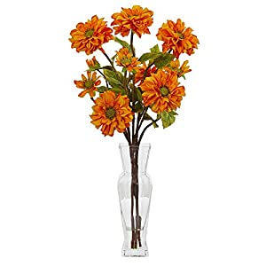 Nearly Natural 1784-OR Zinnia Artificial Silk Arrangements Orange 61