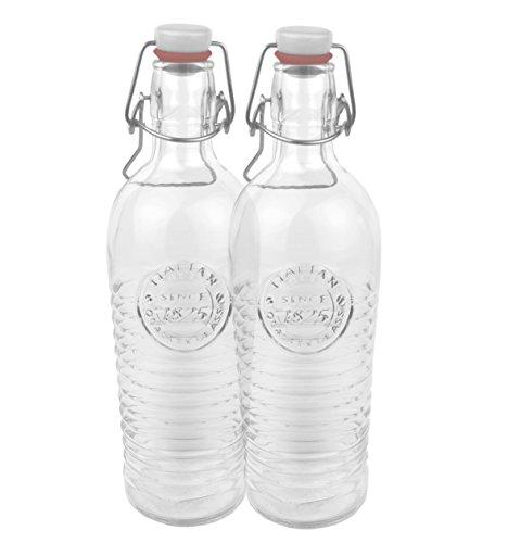 2er Set Glasflasche Officina 1825 - geriffelte 1,2 Liter Flasche mit Bügelverschluss und Relief Verzierung