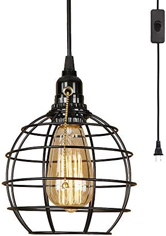 EFINEHOME Retro Industrial Globe Plug in Swag Lamp Light Fixture with 15 Ft Cord On Off Switch Edison 1 Light Great for Home Decor DIY Projects