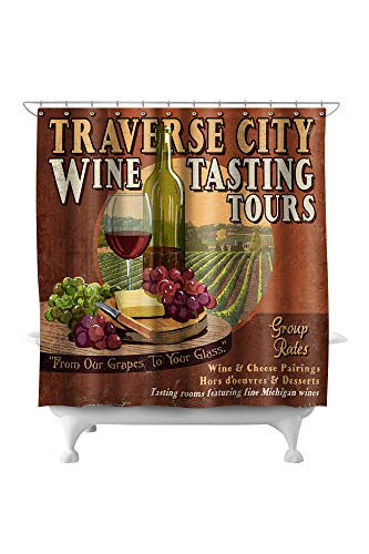 (Lantern Press Traverse City, Michigan - Wine Tasting Vintage Sign 43924 (74x74 Polyester Shower Curtain))