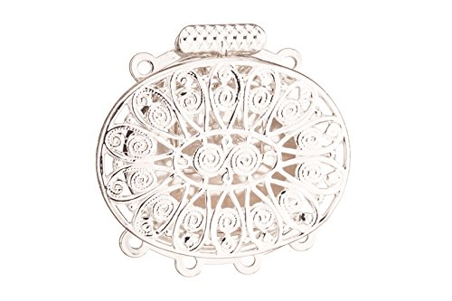Oval Filigree 4 Strand Box Clasp Silver Plated Brass 26x26mm sold per pack of 1 (3pack bundle), SAVE $2