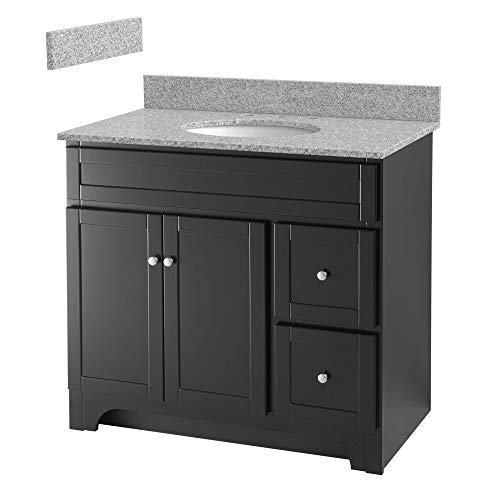 Foremost WREAT3621D-8M  Worthington 36-Inch Espresso Bathroom Vanity with Meteorite Gray Granite Top and White Vitreous China Sink