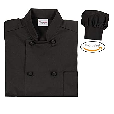 Chefs Pride Unisex Chef Coat & Hat Double Breasted with Knotted Buttons