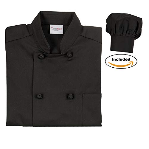 Chefs Pride Unisex Chef Coat & Hat Double Breaste with Cloth Knotted Buttons from Chefs Pride