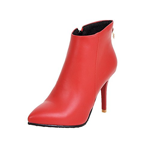 AgooLar Damen Rein Hoher Absatz Spitz Zehe PU Reißverschluss Stiefel, Rot, 37