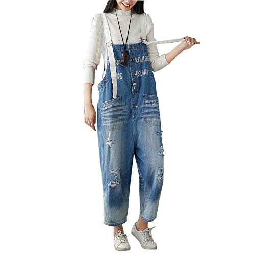 Larghe Vintage Donna Salopette Foro Pantaloni Jeans Zbsport Av8wqw