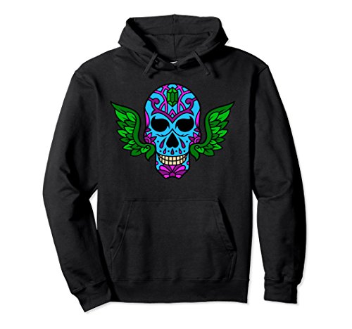 Unisex Colorful Winged Sugar Skull Hoodie for Men and Women Large Black