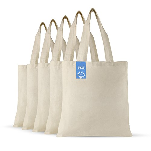 (Simply Green Solutions Blank 100% Cotton Fabric Reusable Cloth Bags - Set of 5 - Tote Bags for School, Tote Bags for Grocery Shopping, Fun Promotional Items or Eco-Friendly Reusable Bags)