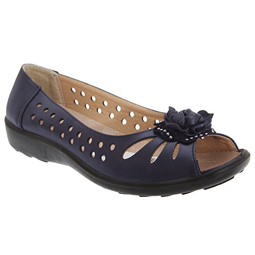 Boulevard Womens/Ladies Punched Open Toe Flower Casual Shoes Navy Blue cNZ5Zm