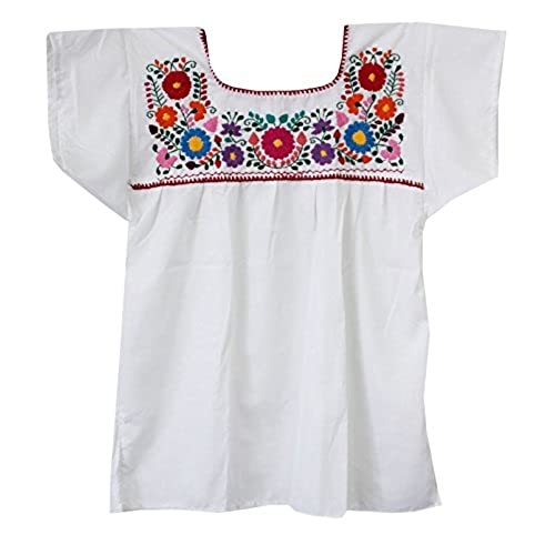 New Vintage 70s Ethnic Mexican Floral embroidery Hippie Boho Blouses Summer  Clothing Petal Sleeve Ladies Casual Cotton TOPs N11