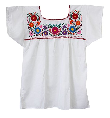 Liliana Cruz Embroidered Mexican Peasant Blouse (White, 2X)