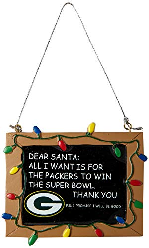 Bay Green Ornaments Packers - Green Bay Packers Resin Chalkboard Sign Ornament