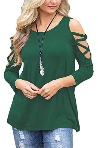 Patrick Long Sleeve Blouse - LUOUSE Women's Hollowed Out Shoulder 3/4 Long Sleeve Casual Tunic Blouse Loose T-Shirts Tops Dark Green