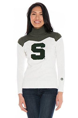 (Alma Mater NCAA Michigan State Spartans Women's Cheer Sweater, X-Small, Cream/Hunter)