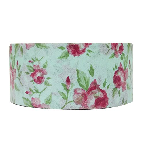 Wrapables Floral and Nature Washi Masking Tape, Country Rose