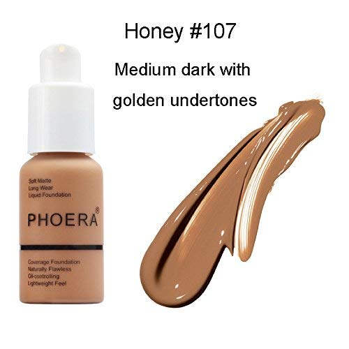 Matte Oil Control Concealer Foundation Cream,PHOERA New 30ml Long Lasting Waterproof Matte Liquid Foundation (107 Honey)