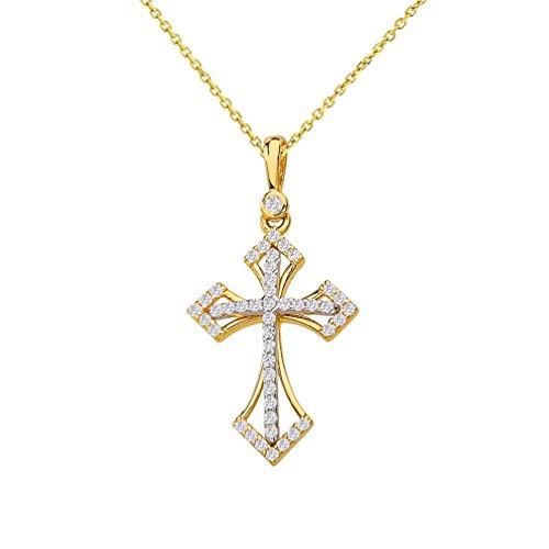 - 14k Two-Tone Gold Elegant Religious Cross Charm Pendant Necklace with Cubic Zirconia Gemstones, 20