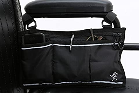 Pembrook Wheelchair Side Bag - Black - Great Accessory for your mobility devices. Fits most Scooters, Walkers, Rollators - Manual, Powered or Electric - Deluxe Aluminum Trim