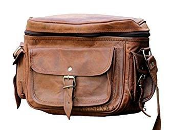Vintage Leather Camera Dslr Bag Spacious with Pockets Compartments Shoulder Strap Fashionable Bag