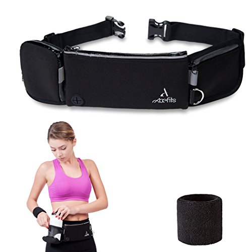 Running Belt and Sweat Wristband – Hidden Money Belt for Men & Women from Waterproof Neoprene – Adjustable Size - Water Bottle Holder – Large Pockets - Perfect for Running, Hiking, Cycling (Jogger Water)