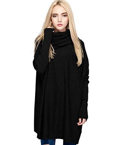 Meow Meow Lace MML Womens Cowl Neck Long Sleeve Loose Knit Top Cable Pullover Sweaters (One Size, (Black Turtleneck Sweater)